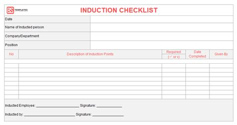 10+ Employee Induction checklist formats for Excel templates
