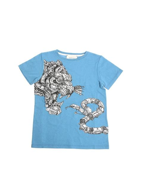 Gucci Kids' Tiger And Snake Print T-shirt In Light Blue