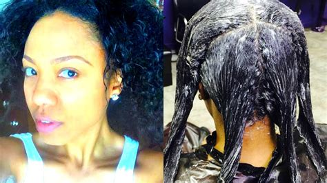 How To Relax Virgin Hair   Natural to Relaxed - YouTube
