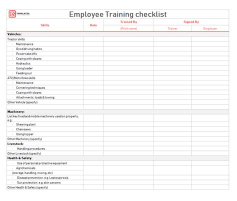 Employee Training Checklist Template for Excel & Word