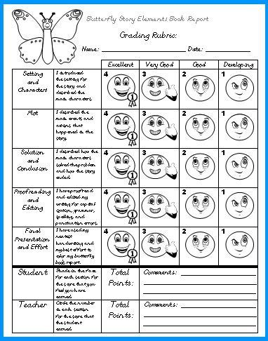 Butterfly Book Report Projects: templates, worksheets