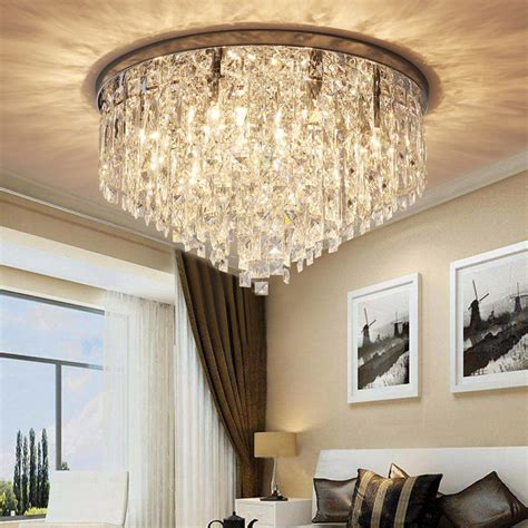 Contemporary Round Crystal Chandelier - Flush Mount