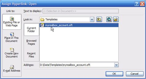 Create a Template With the Account Selected
