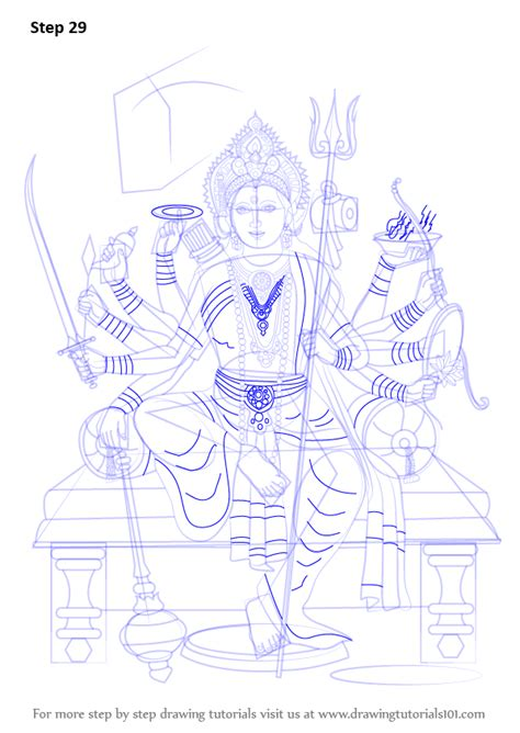 Learn How to Draw Durga Maa (Hinduism) Step by Step