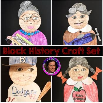Black History Crafts for Rosa Parks,Jackie Robinson,Ruby