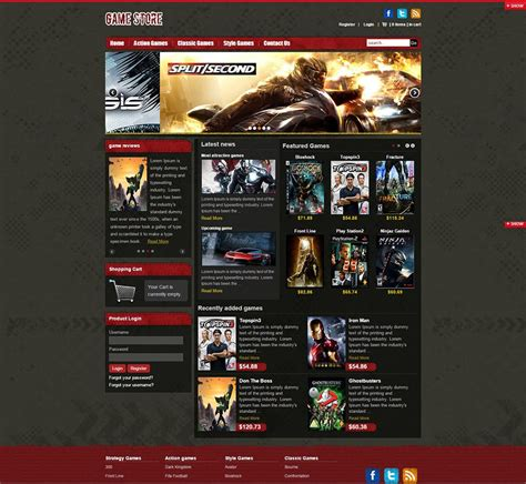 Game Store Virtuemart Website Templates & Themes | Free
