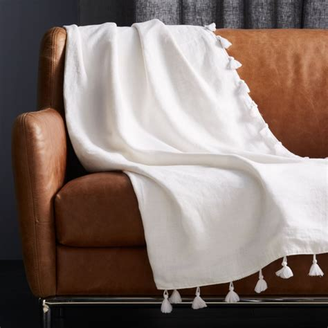 Linen White Throw with Tassels | CB2