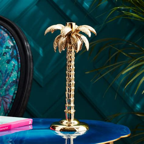 palm tree gold taper candle holder + Reviews | CB2