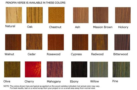 lowes wood stain   Wood Stain Color Chart   Wood stain