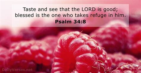 Psalm 34:8 - Bible verse of the day - DailyVerses