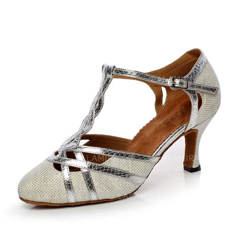 Women's Ballroom Heels Pumps Leatherette With T-Strap