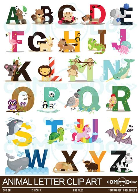 Animal Alphabet Clipart Education and Learning Clip Art