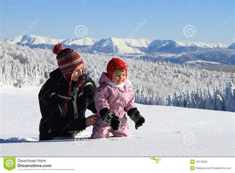 Mother Mom And Baby In Winter Snow Stock Image - Image