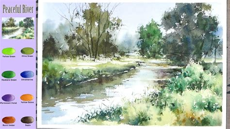 Without Sketch Landscape Watercolor - Peaceful River